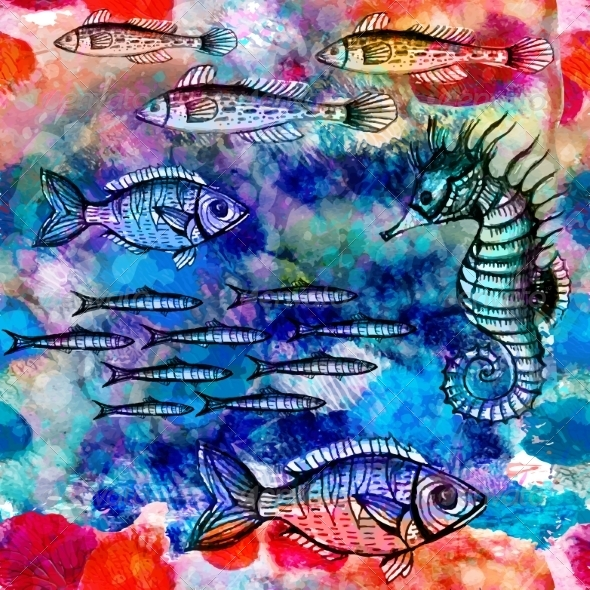 GraphicRiver Seamless Pattern with Fish in Sea 7089606
