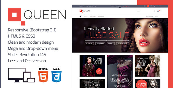 ThemeForest Queen Responsive E-Commerce Template 7090362