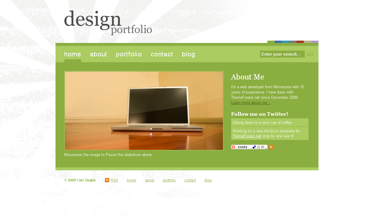7 Color Design Portfolio - Home page sample in the default color of green, notice the style switcher in the header, please view the live preview to sample all colors!