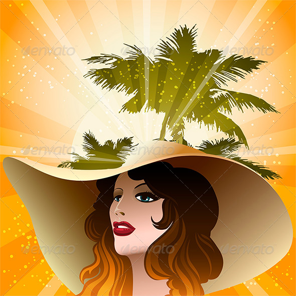GraphicRiver Girl in Beach Hat 7090564