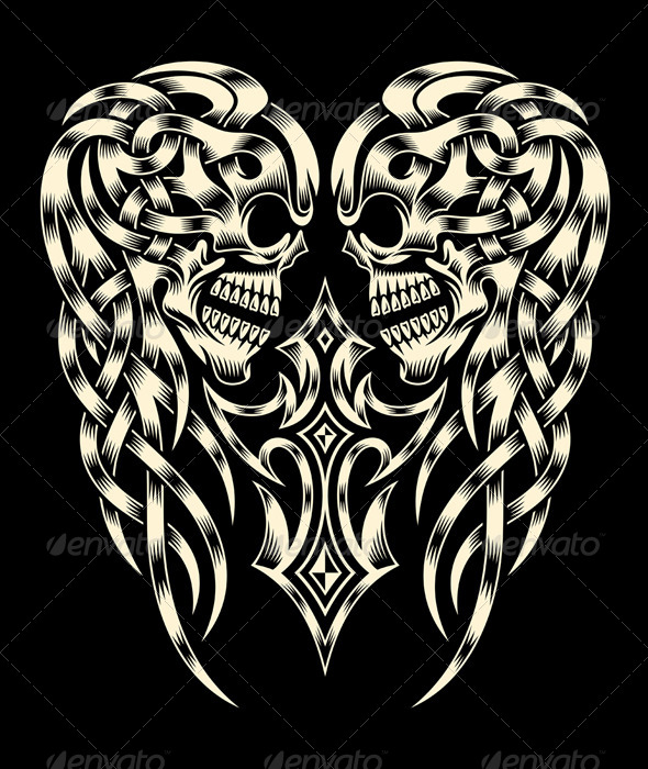 GraphicRiver Ornate Skull With Cross 7091506