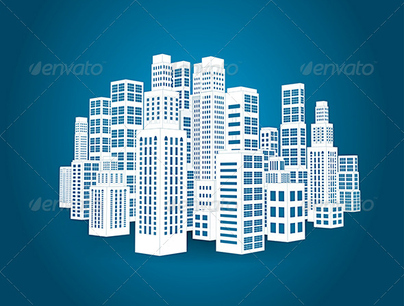 GraphicRiver City with Buildings and Skyscrapers 7044802