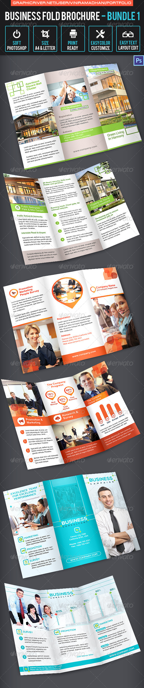 GraphicRiver Business Trifold Brochure Bundle 1 7092436