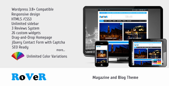 ThemeForest RoVeR Magazine Blog WordPress Theme 7020309