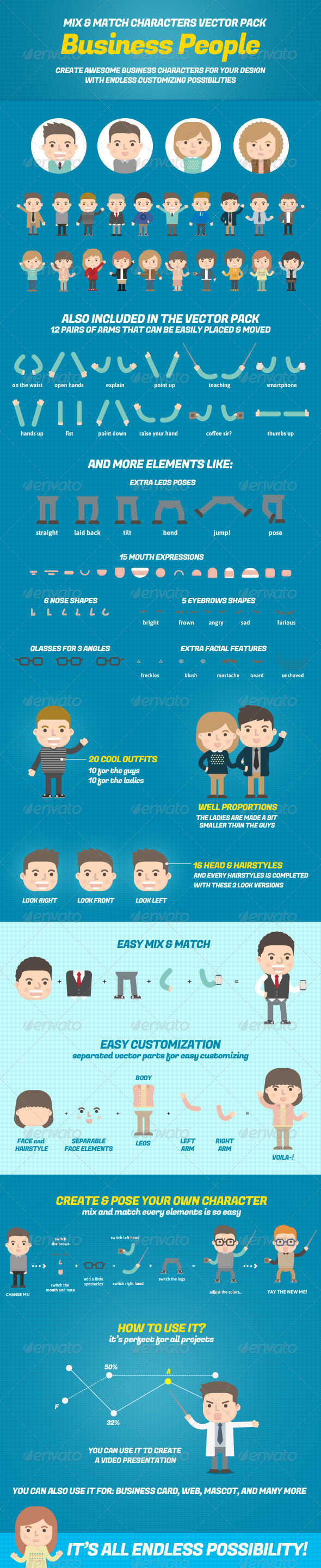 GraphicRiver Business People Mix and Match Character Pack 7093026