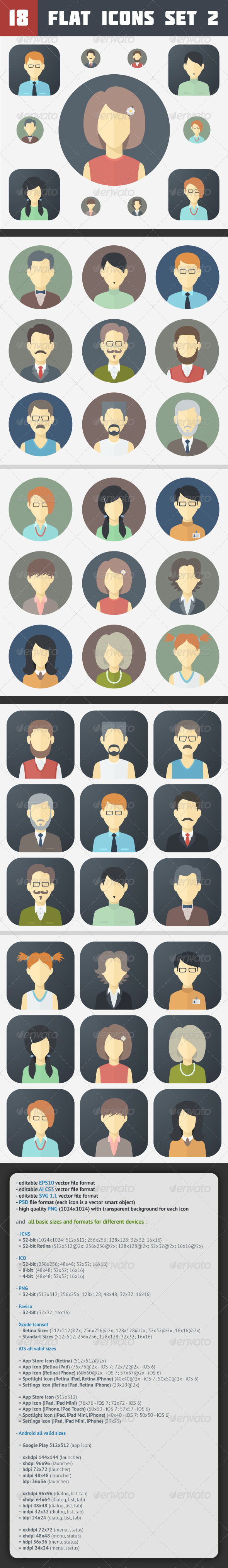 GraphicRiver Minimalistic Flat Faces Icons Set 2 7093110