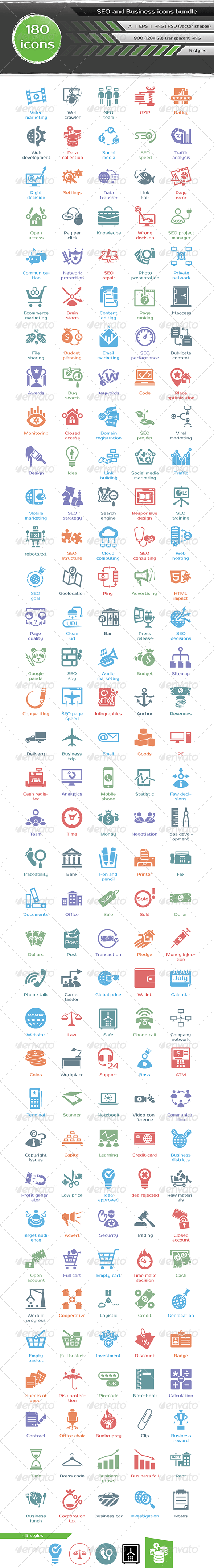 GraphicRiver SEO and Business Icons Bundle 7094058