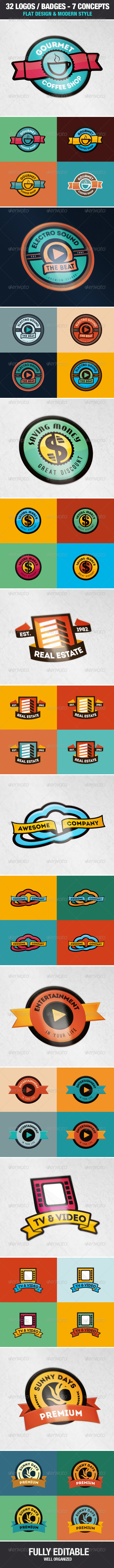 GraphicRiver 32 Badges Logos 7 Styles Flat Design 7094765