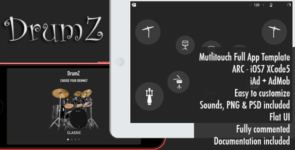 CodeCanyon DrumZ Full Portable Drums App Template 7094798