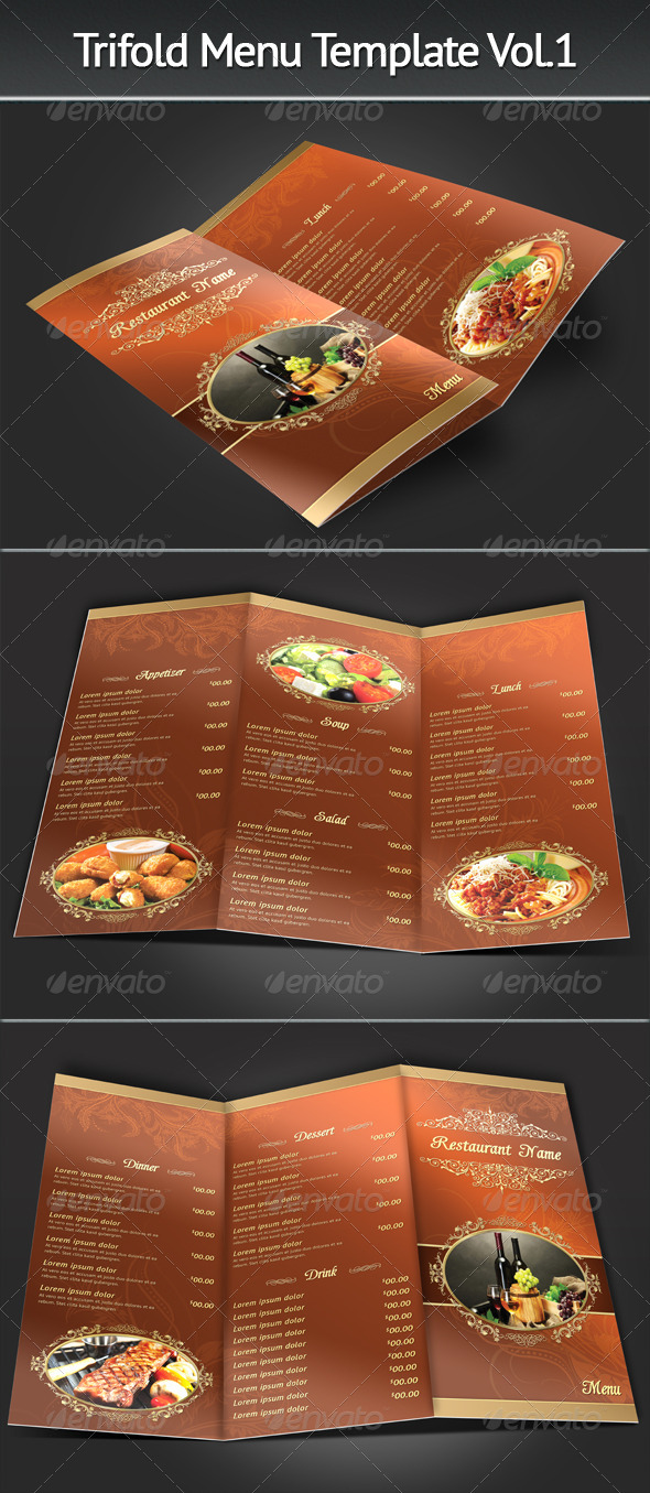GraphicRiver Trifold Menu Template Vol.1 7095092