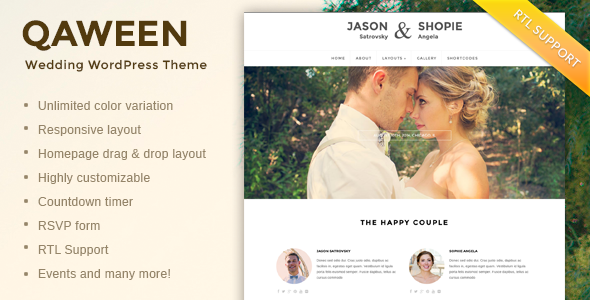 Qaween Responsive WordPress Wedding Theme
