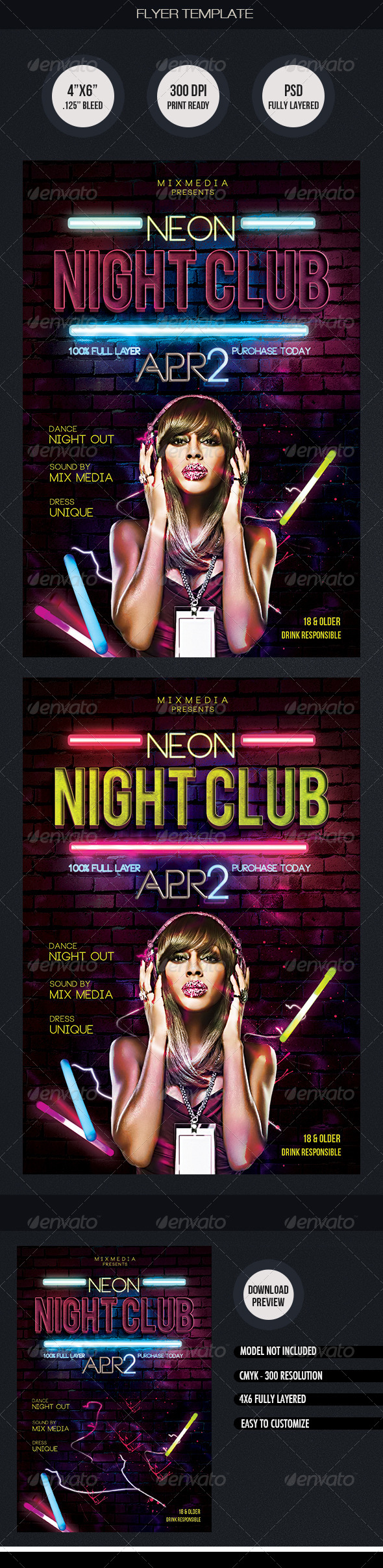 GraphicRiver Neon Night Club Flyer Template 7095158