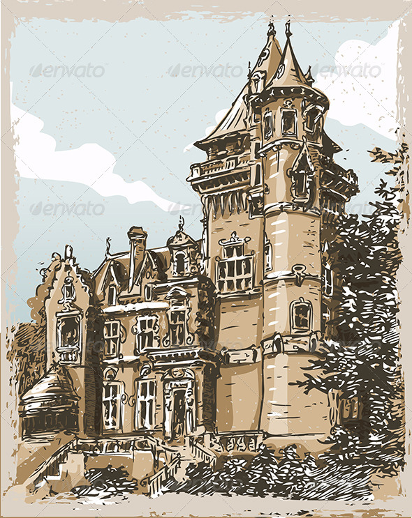 GraphicRiver Vintage Hand Drawn Old Castle in Belgium 7066847