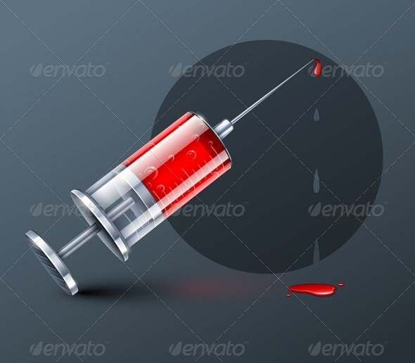 GraphicRiver Medical Syringe with Blood Drops 7096510