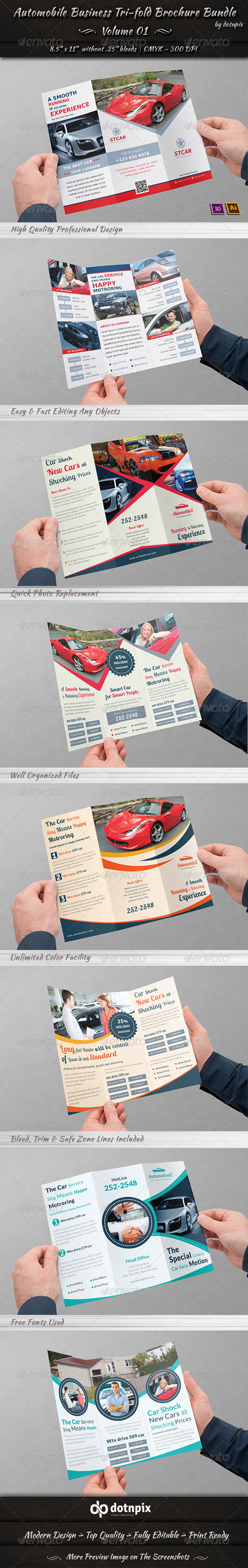 GraphicRiver Automobile Business Tri-fold Brochure Bundle V 1 7096532