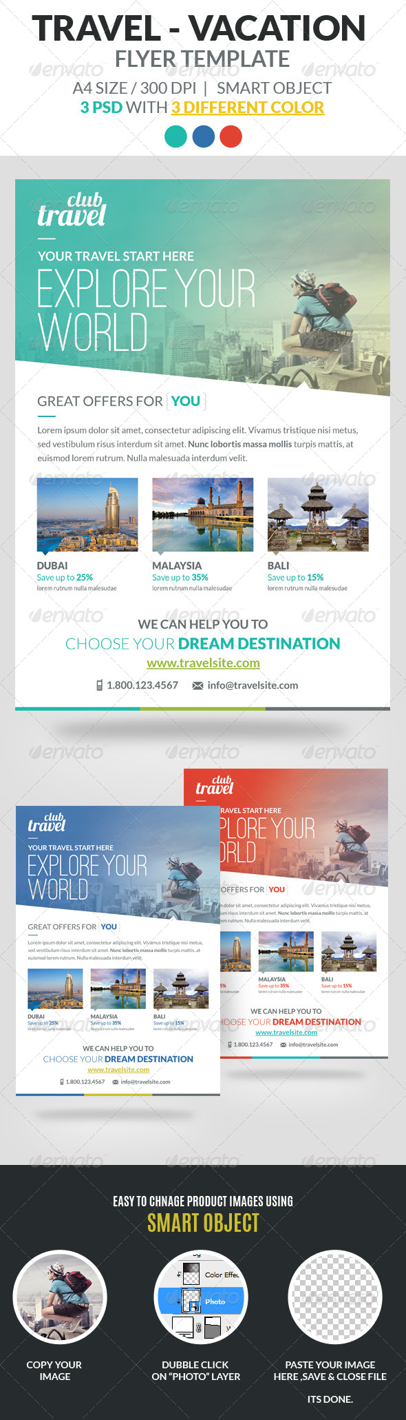 GraphicRiver Travel Vacation Flyer Template 7096534