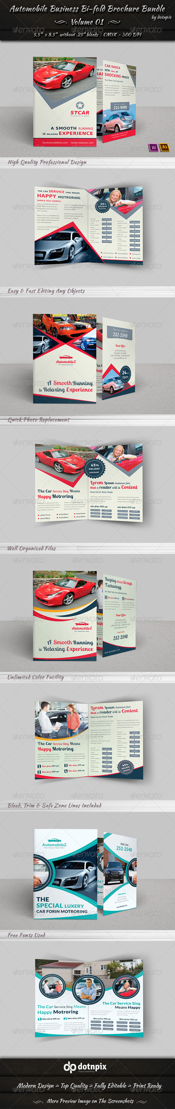 GraphicRiver Automobile Business Bi-fold Brochure Bundle V 1 7097235