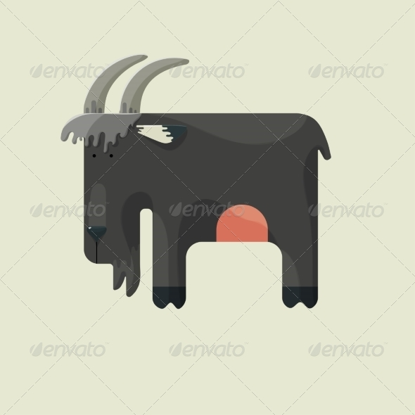 GraphicRiver Gray Goat with Horns Standing Sideways 7097549