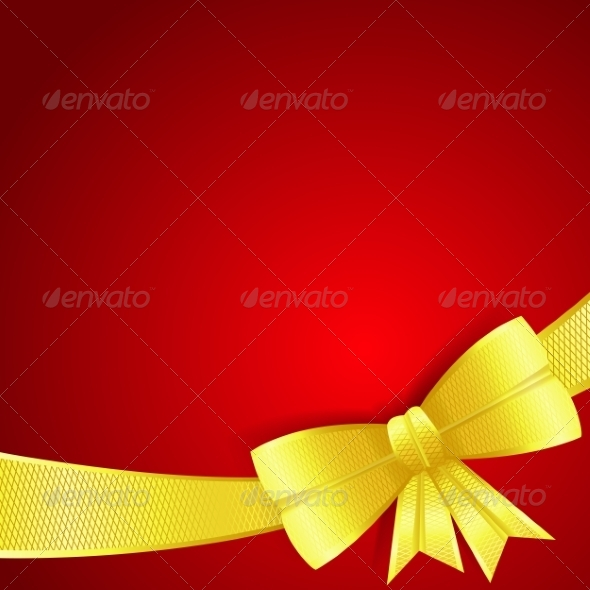 GraphicRiver Greeting Card with Gold Silk Bow 7097972