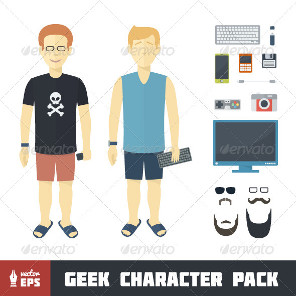 GraphicRiver Geek Character Set 7098219