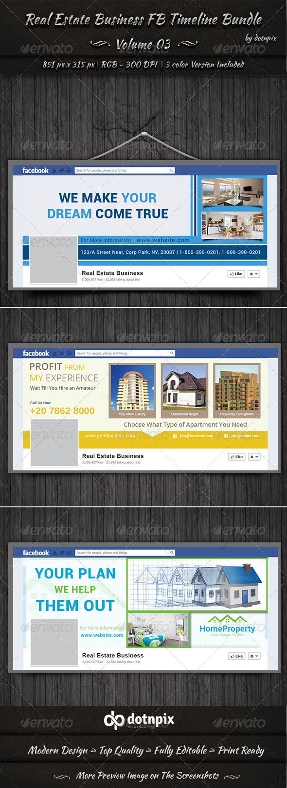 GraphicRiver Real Estate Business FB Timeline Bundle Volume 3 7098229