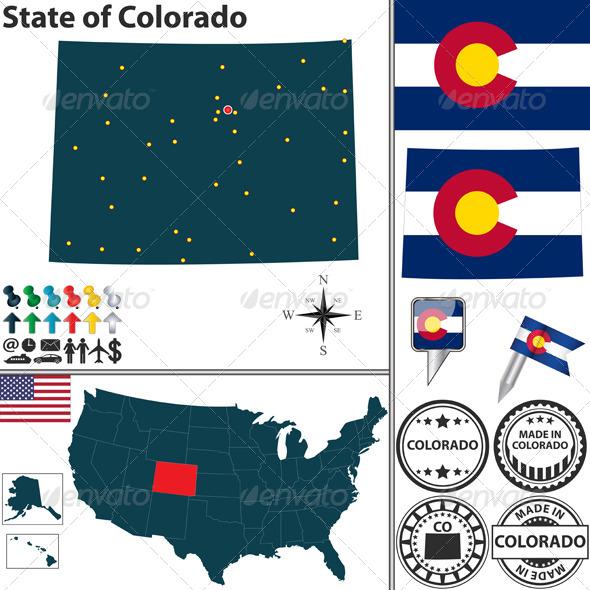 GraphicRiver Map of State Colorado USA 7098247