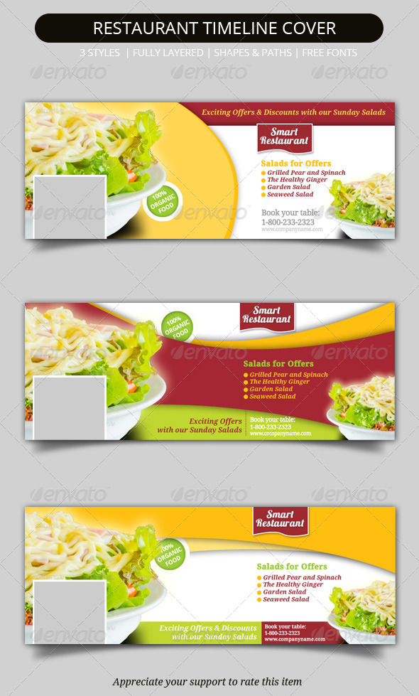 GraphicRiver Restaurant Facebook Timeline Covers 7087172