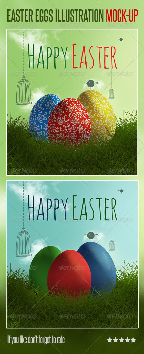 GraphicRiver Easter Eggs Illustration Mock-up 7098877
