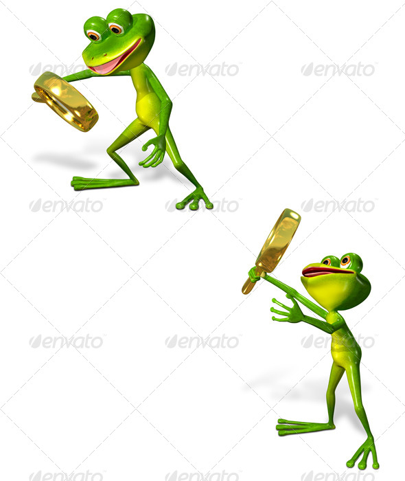 GraphicRiver Green Frog with Magnifying Glass 7099010