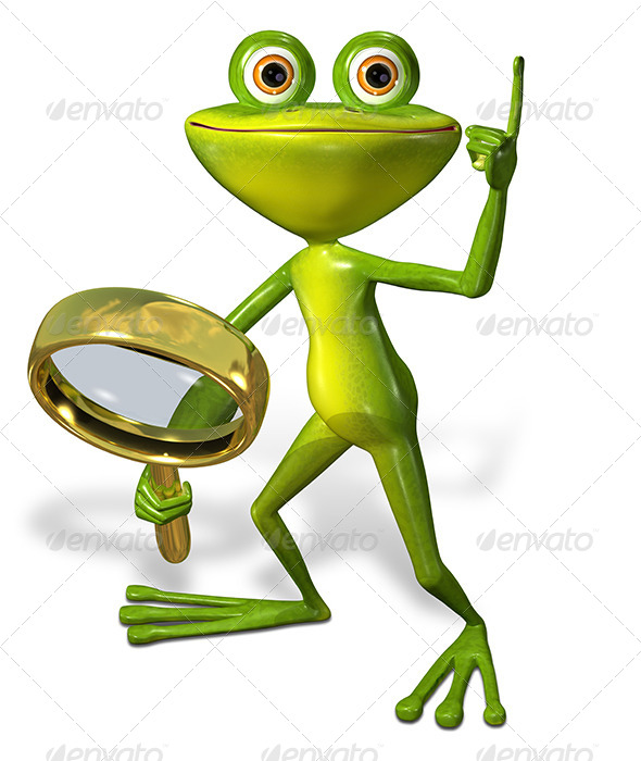 GraphicRiver Green Frog with Magnifying Glass 7099087