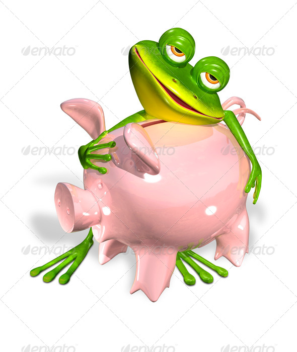 GraphicRiver Green Frog with Piggy Bank 7099116