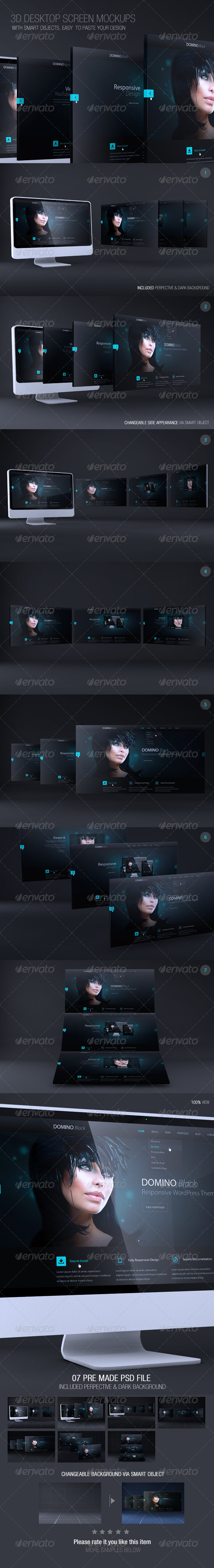 GraphicRiver 3D Desktop Screen Mockups 7092445
