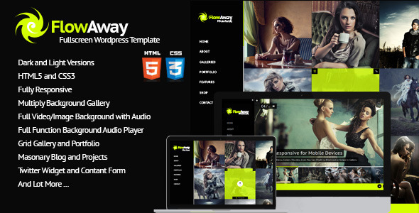ThemeForest FlowAway WP Fullscreen Video Image with Audio 7019662