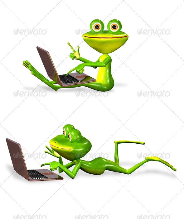 GraphicRiver green frog with notebook 7099271