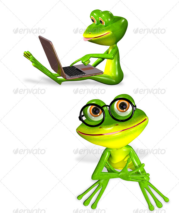 GraphicRiver Green Frog with Notebook 7099519
