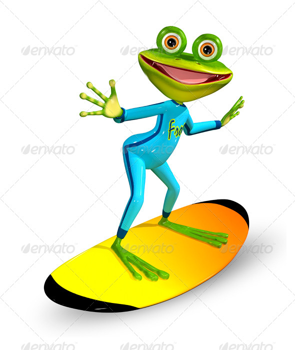 GraphicRiver green frog on a surfboard 7100285