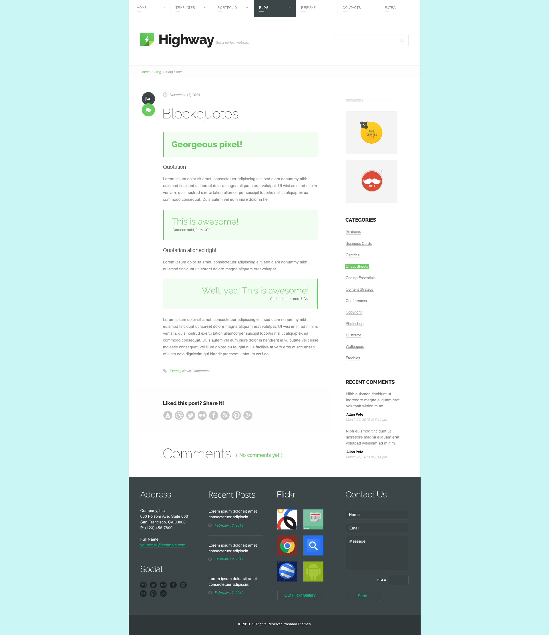 highway psd template by yashma themeforest blog post quote png