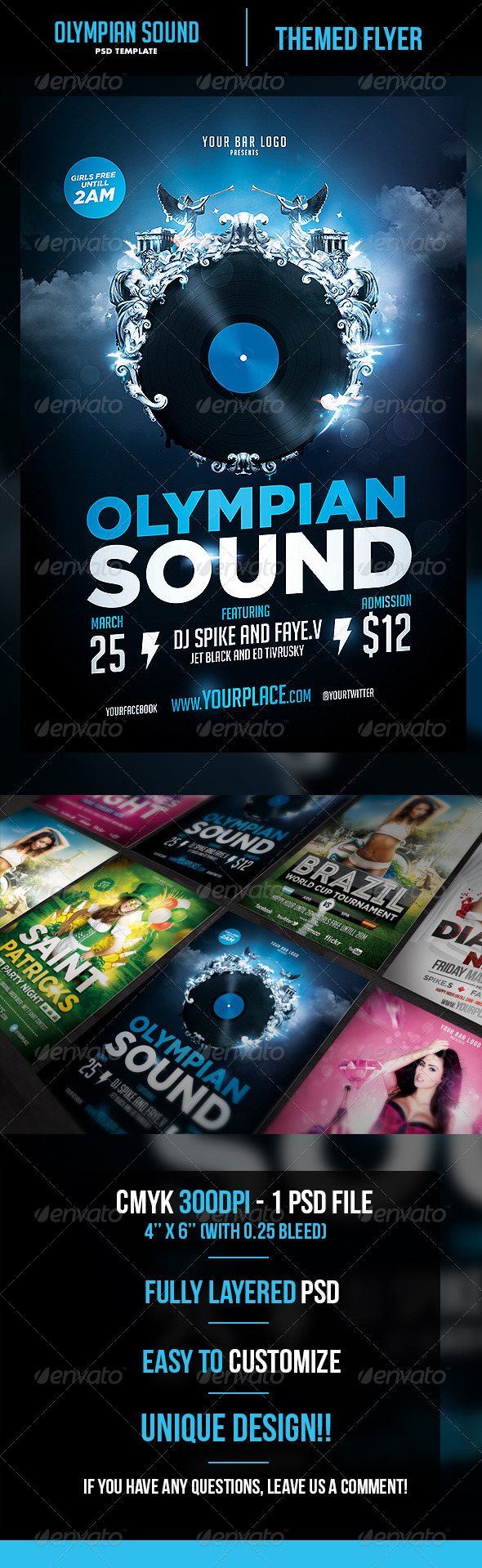 Olympian Sound Flyer Template - Flyers Print Templates