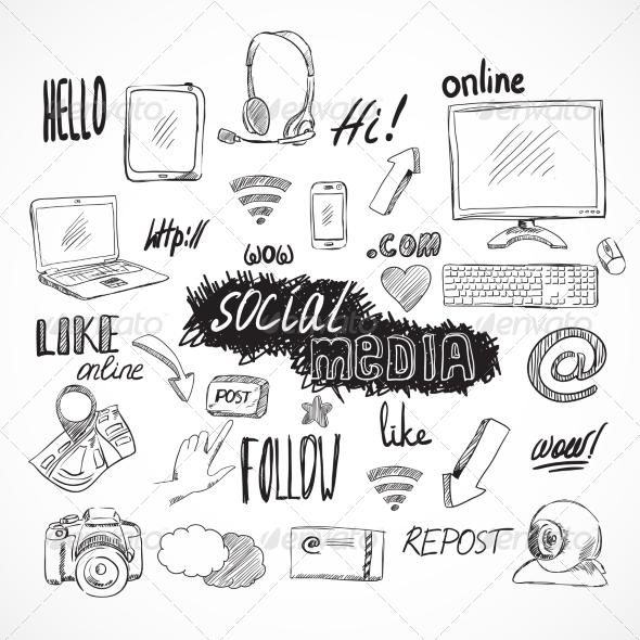 GraphicRiver Doodle Social Media Icons Set 7102025