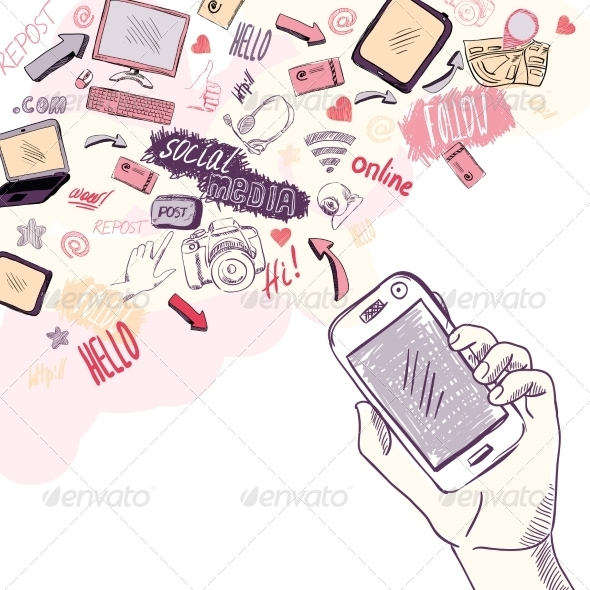 GraphicRiver Hand Holding Mobile Phone with Social Media Icons 7102037