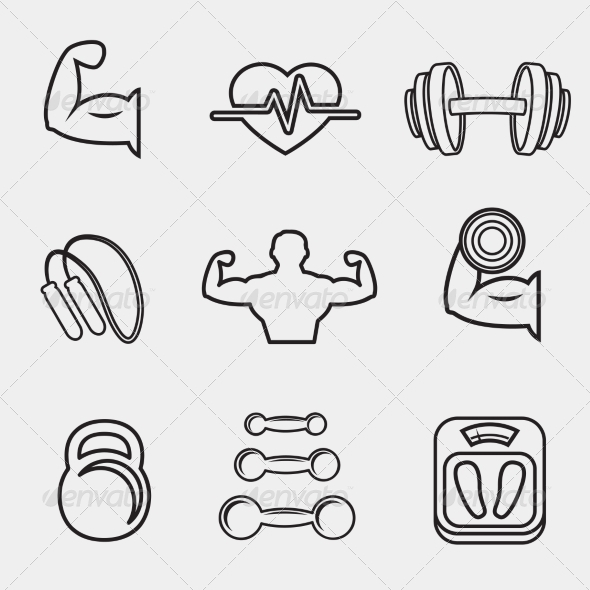 GraphicRiver Fitness Bodybuilding Sport Icons Set 7102070