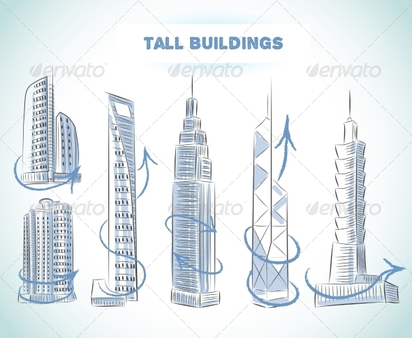 GraphicRiver Buildings Icons Set of Modern Skyscrapers 7102096