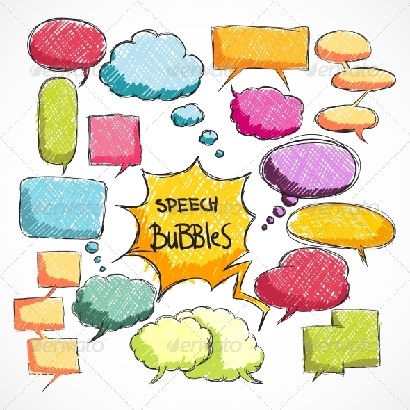 GraphicRiver Doodle Comic Chat Bubbles Collection 7102137