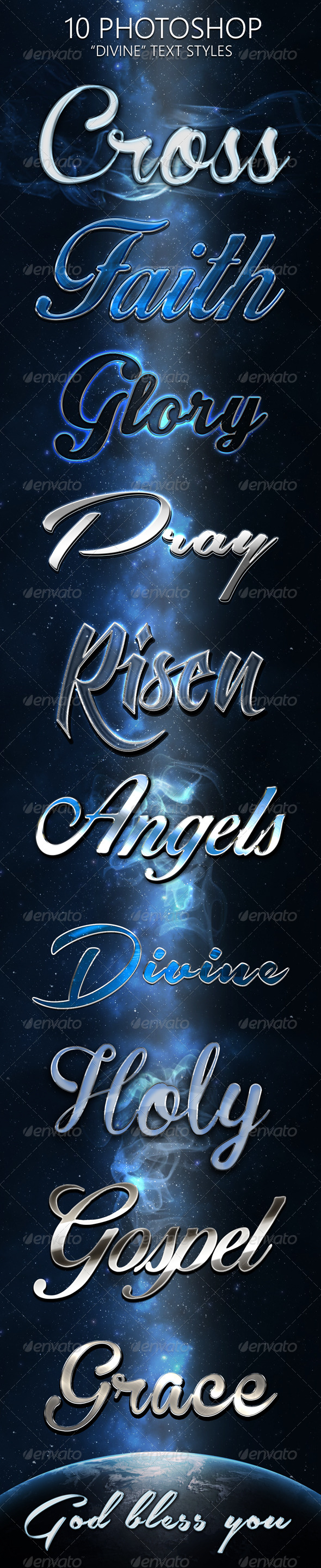 GraphicRiver 10 Divine Photoshop Text Styles 7102180