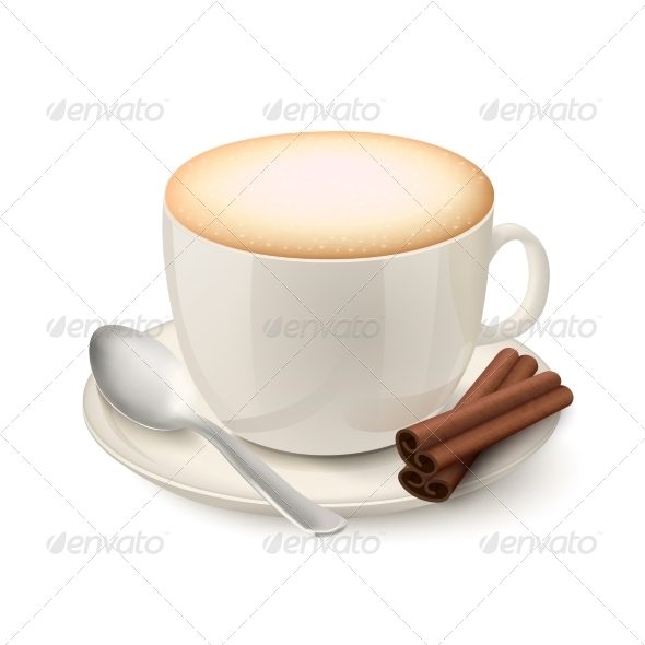 GraphicRiver Realistic White Cup Filled with Cappuccino 7102310