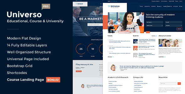 ThemeForest Universo Educational Course and University PSD 7102623