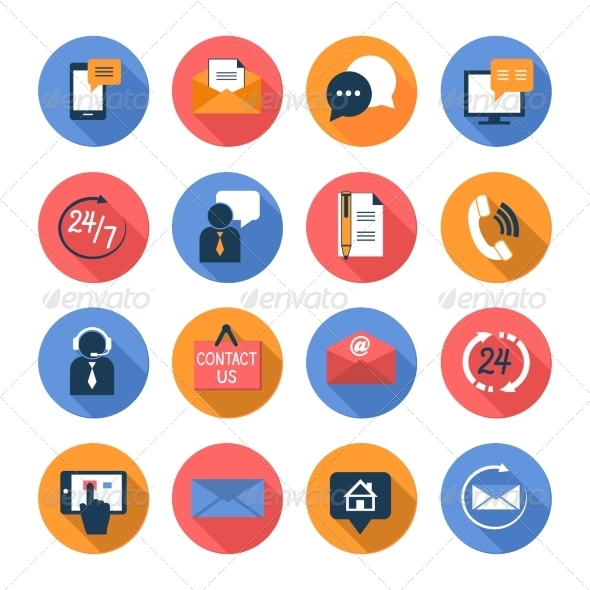 GraphicRiver Customer Care Contacts Flat Icons Set 7102984