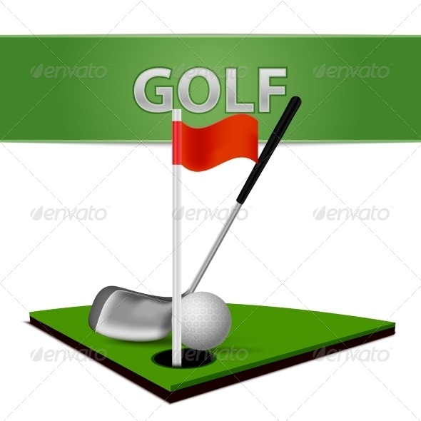 GraphicRiver Golf Ball Club and Green Grass Emblem 7103110