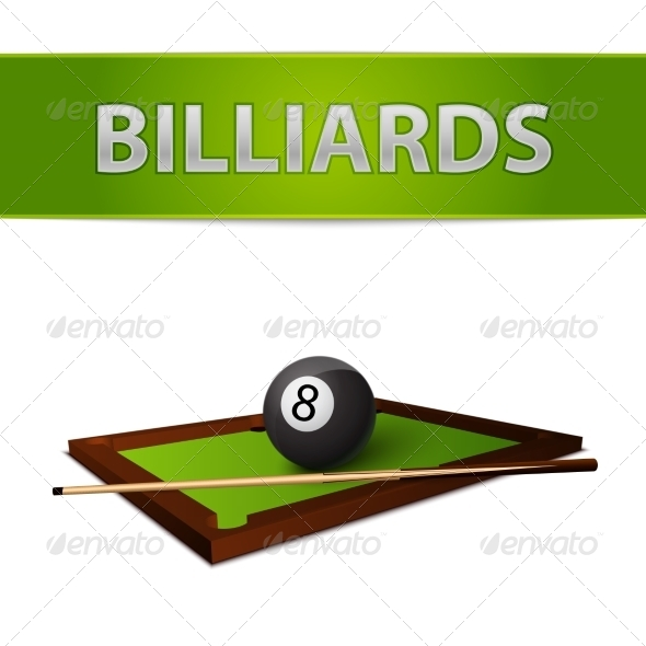 GraphicRiver Billiards Ball with Stick on Green Table Emblem 7103125