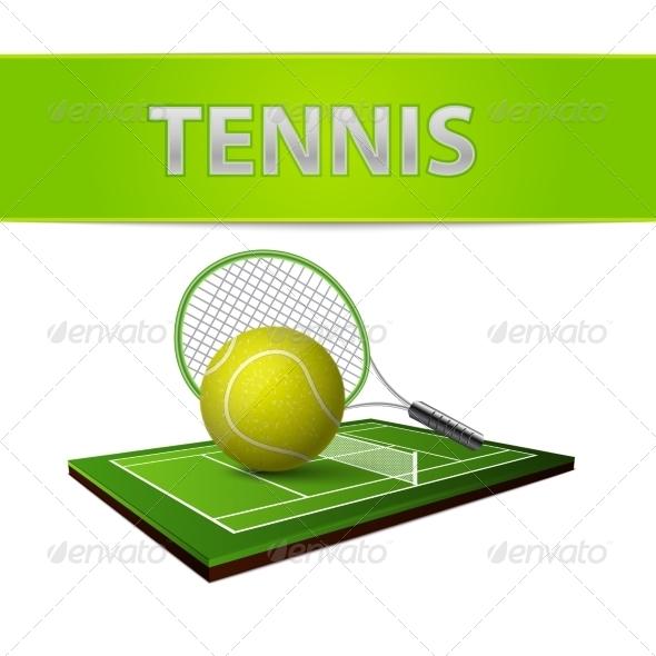 GraphicRiver Tennis Ball and Green Grass Field Emblem 7103134